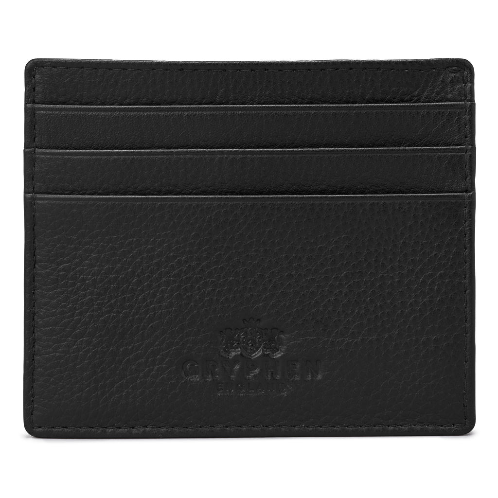 Black Leather Slim Credit Card Holder Wallet By Gryphen - Yoshi