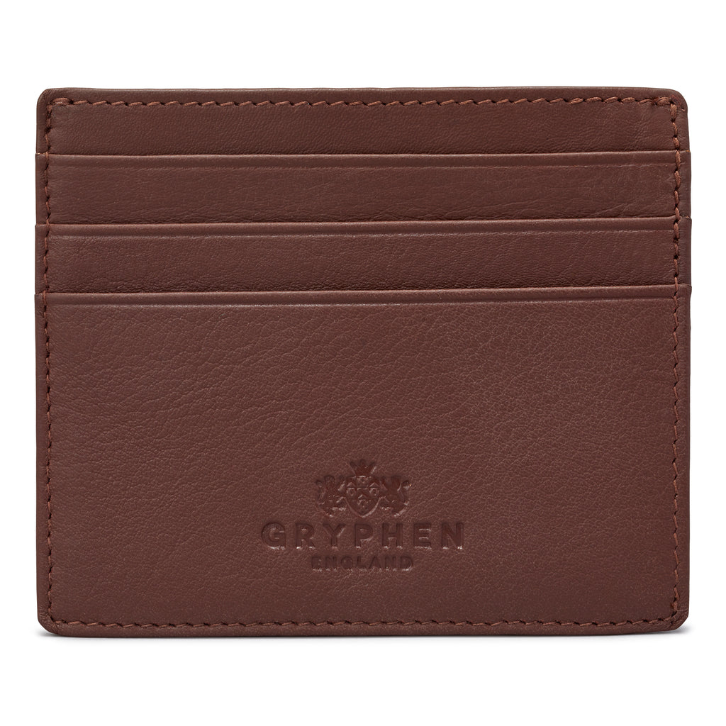 Brown Leather Slim Credit Card Holder Wallet By Gryphen - Yoshi