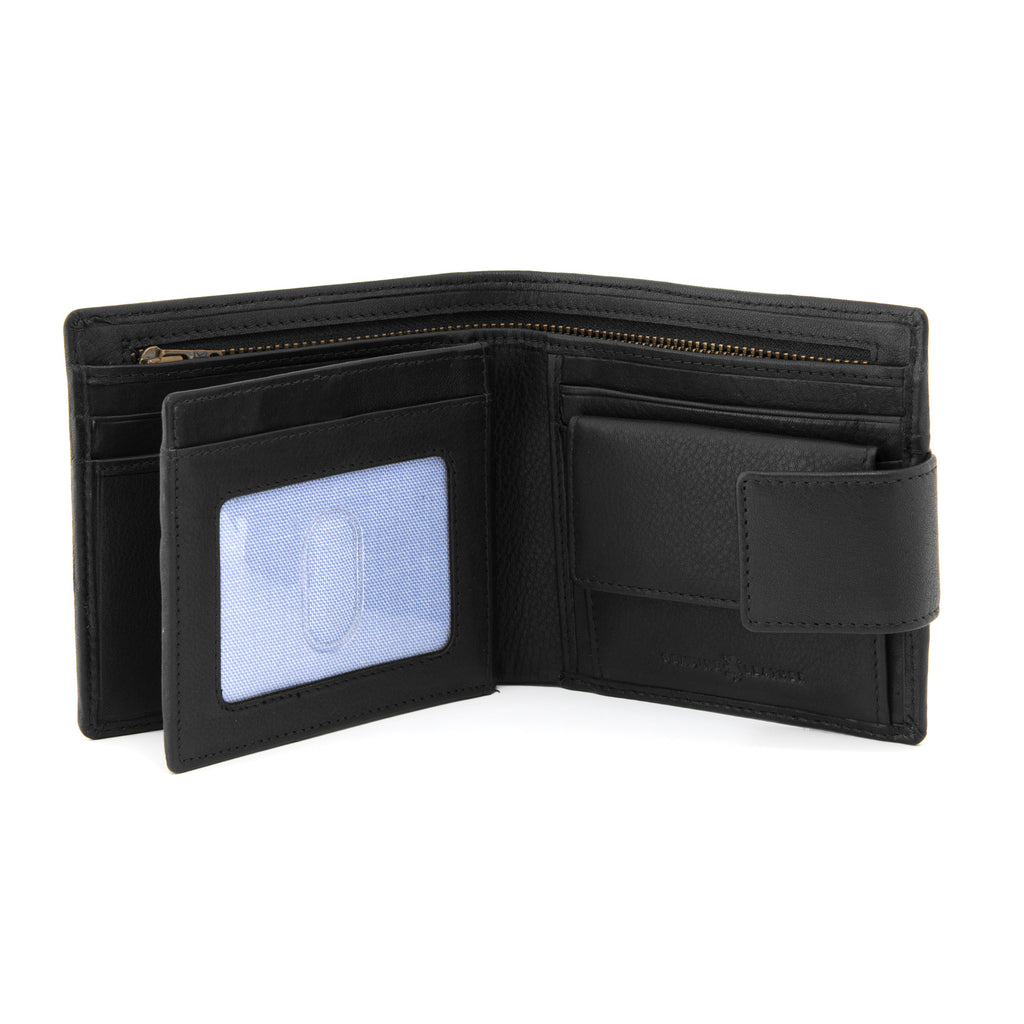 Black Leather Large Capacity Wallet With Tab By Gryphen -  - Gryphen