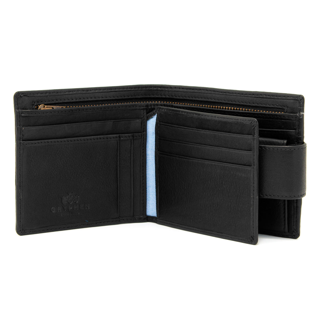 Black Leather Large Capacity Wallet With Tab By Gryphen