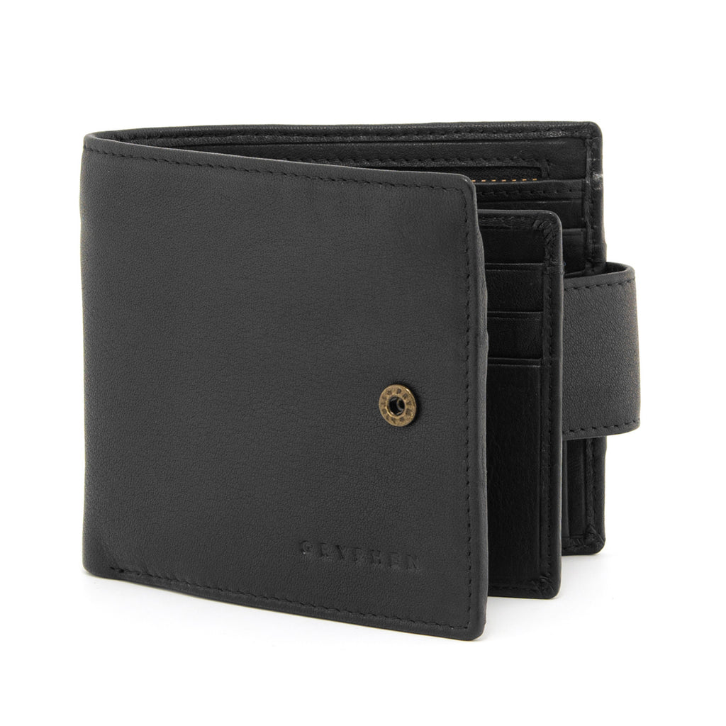 Large Capacity Two Fold Black Leather Wallet with Tab by Gryphen