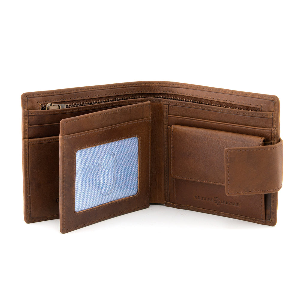Brown Leather Large Capacity Wallet With Tab By Gryphen