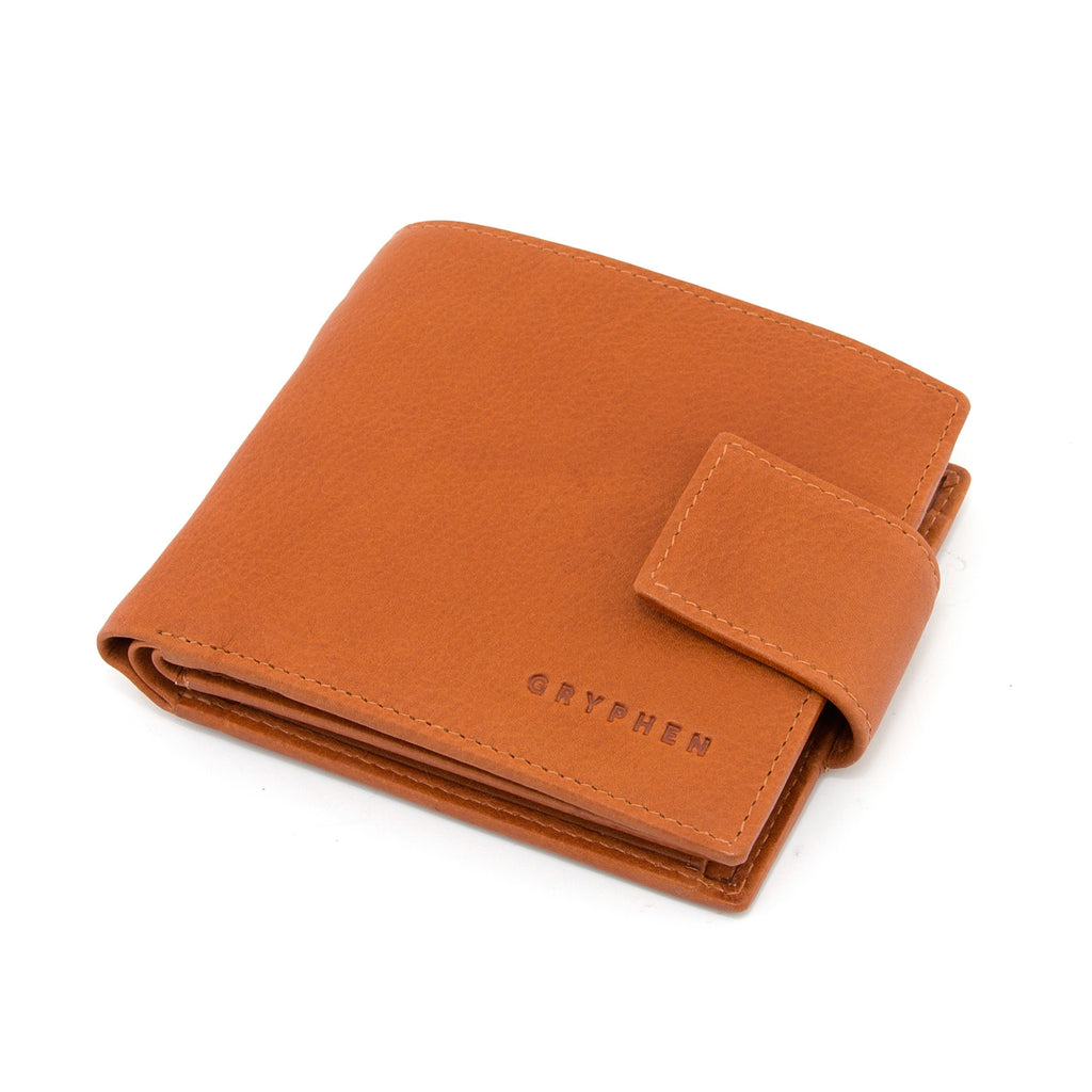 Large Capacity Two Fold Tan Leather Wallet with Tab by Gryphen