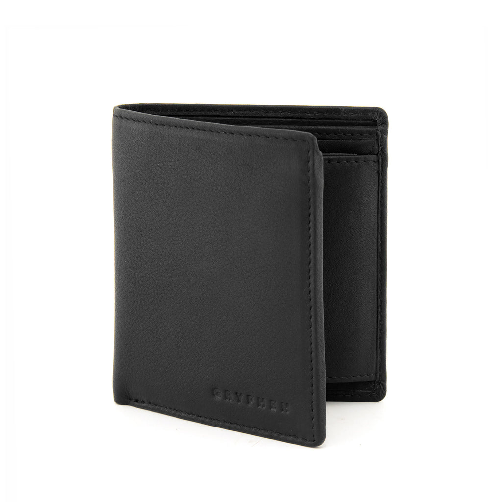Two Fold Black Leather Wallet with Coin Pocket by Gryphen