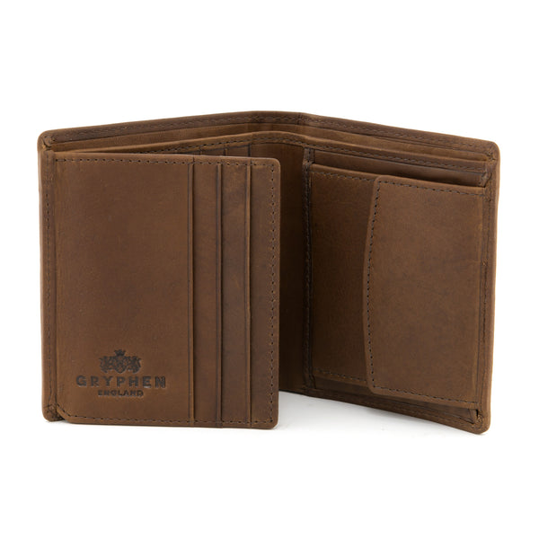 Brown Leather Coin Pocket Wallet By Gryphen
