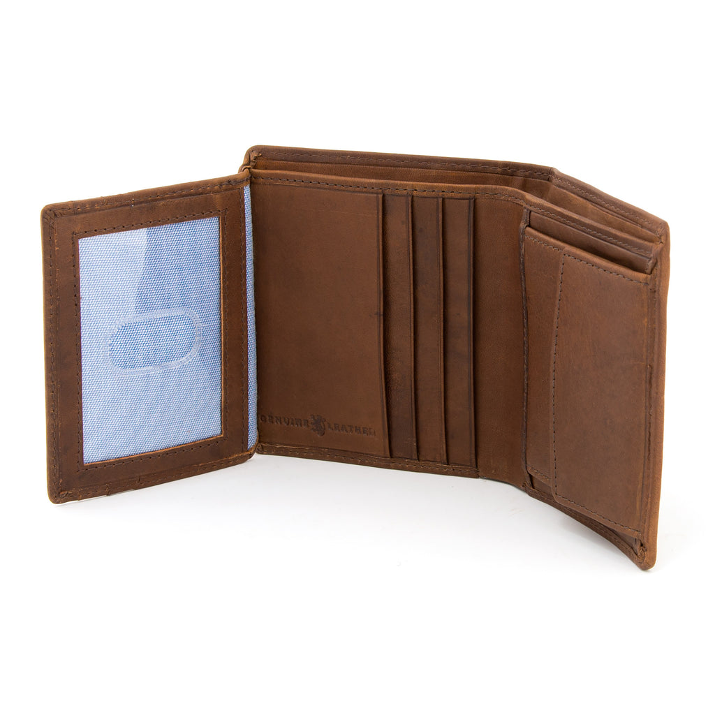 Two Fold Brown Leather Wallet with Coin Pocket by Gryphen