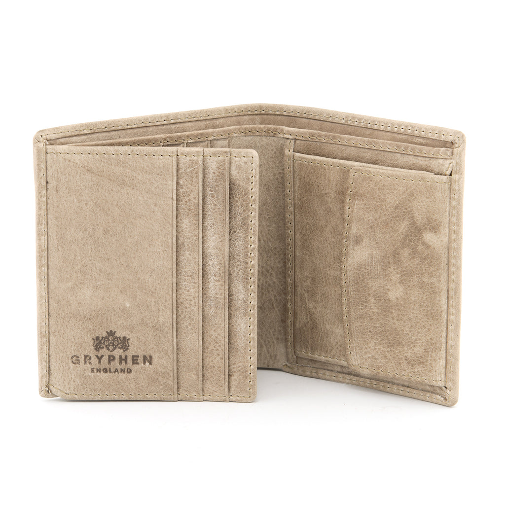 Two Fold Stone Leather Wallet with Coin Pocket by Gryphen