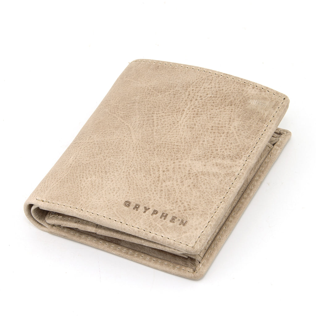 Stone Grey Leather Coin Pocket Wallet By Gryphen