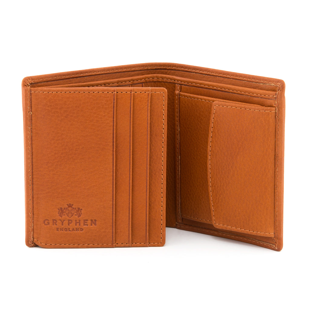 Two Fold Tan Leather Wallet with Coin Pocket by Gryphen