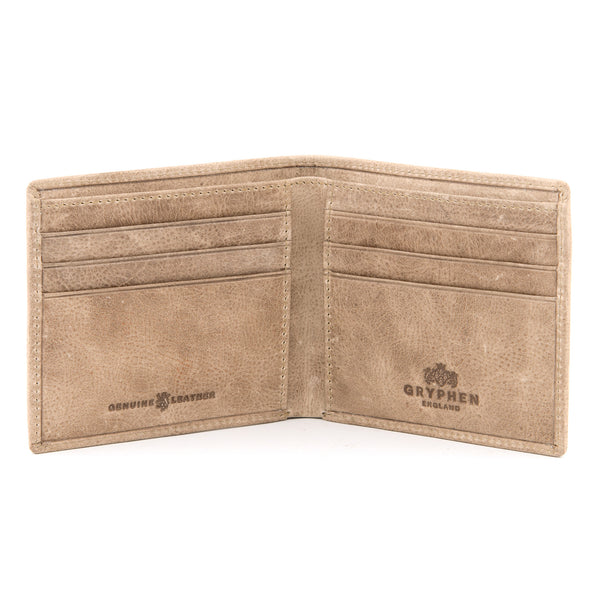 Stone Grey Leather Slim Wallet By Gryphen