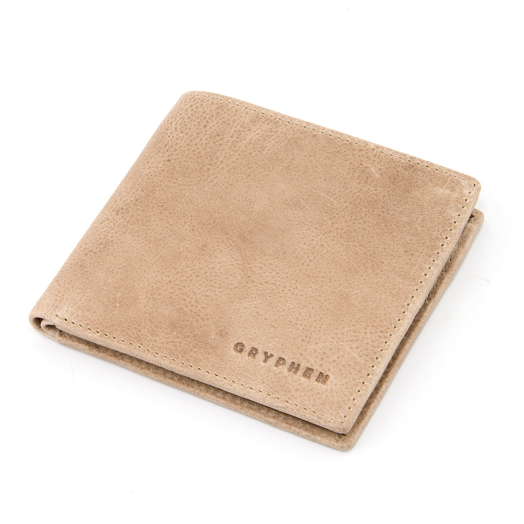 Stone Grey Leather Slim Wallet By Gryphen -  - Gryphen