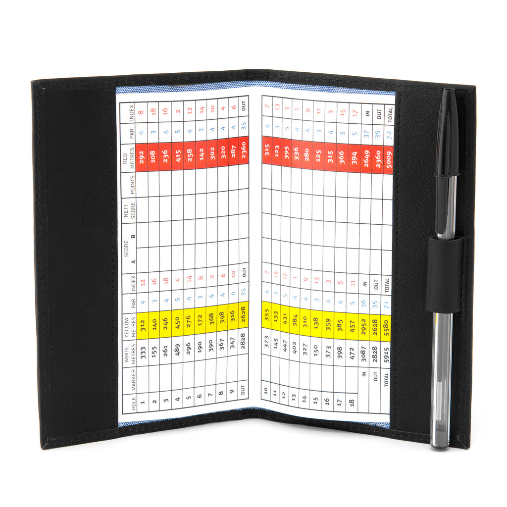 Black Leather Golf Scorecard Holder by Gryphen