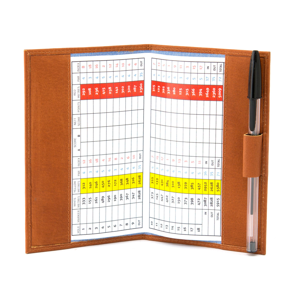 Tan Leather Golf Scorecard Holder By Gryphen - Yoshi