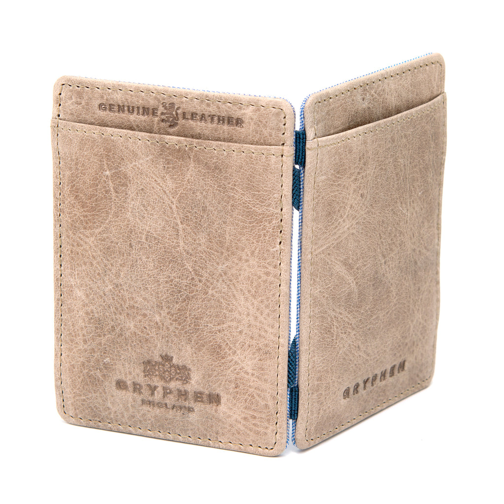 Stone Grey Leather Magic Credit Card Wallet By Gryphen