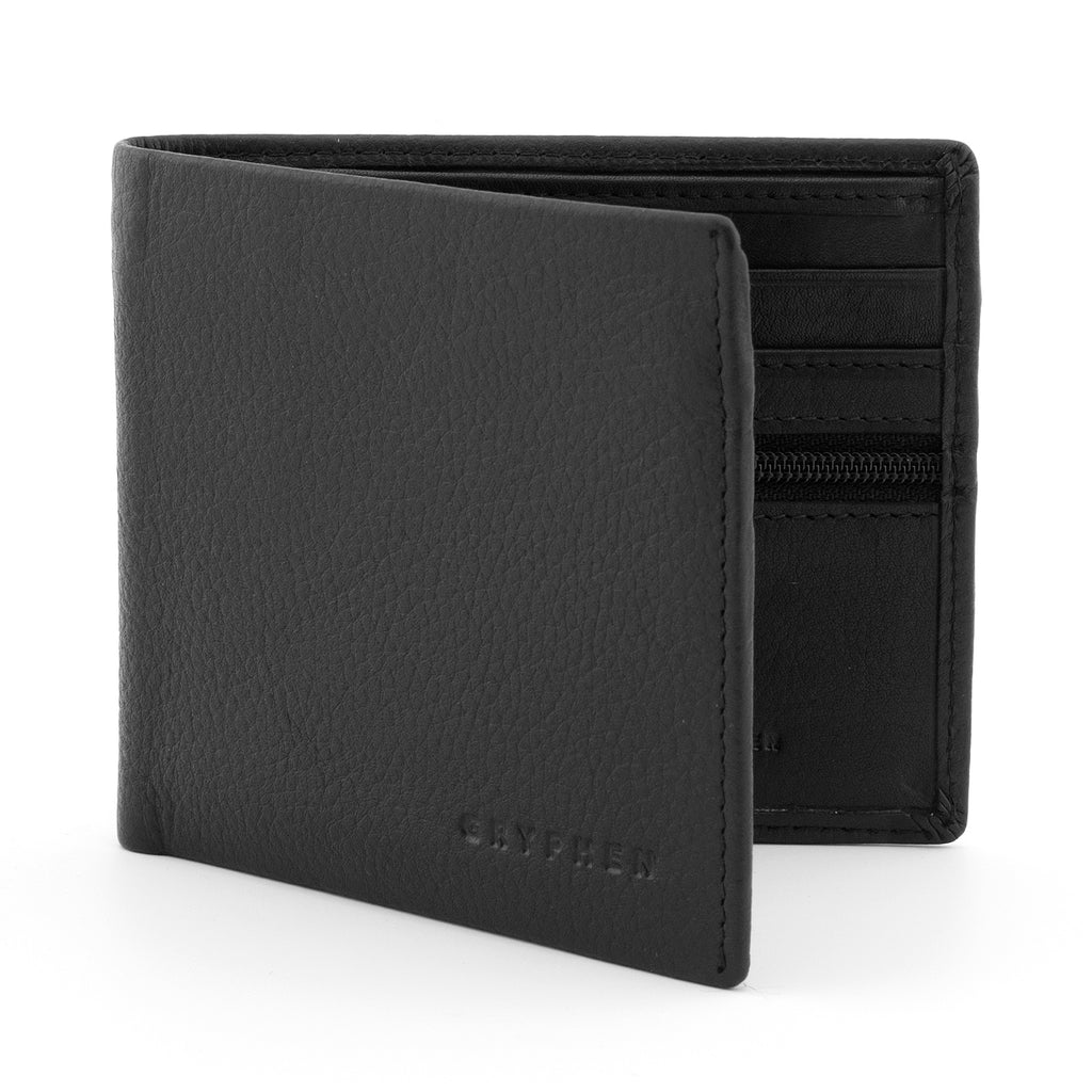 Black Leather Two Fold Wallet With Zip Pocket - Yoshi