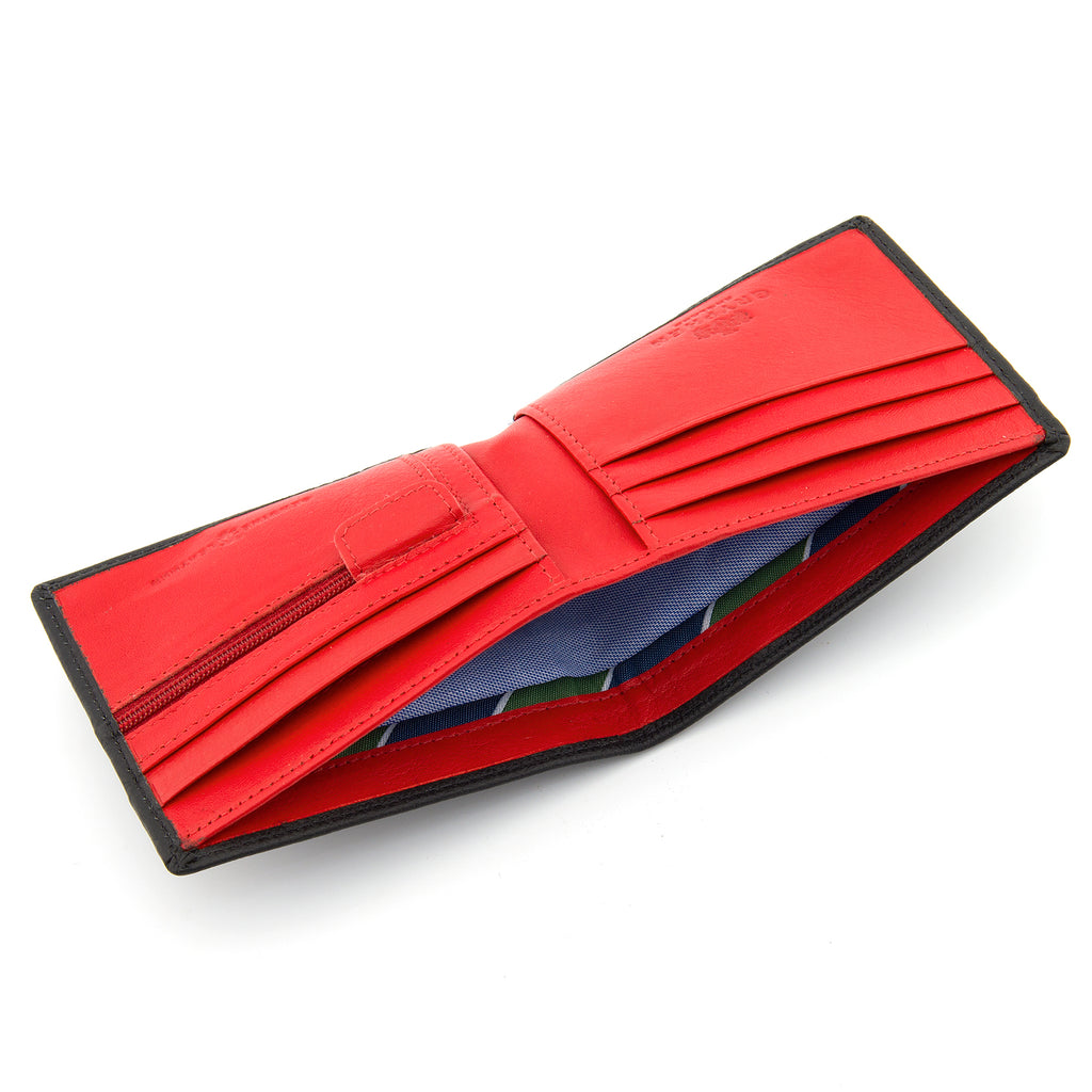 Black And Red Leather Two Fold Wallet With Zip Pocket - Yoshi