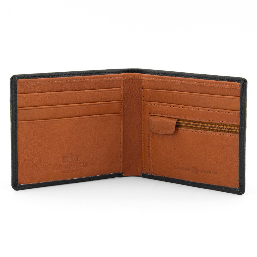 Black And Tan Leather Two Fold Wallet With Zip Pocket - Yoshi