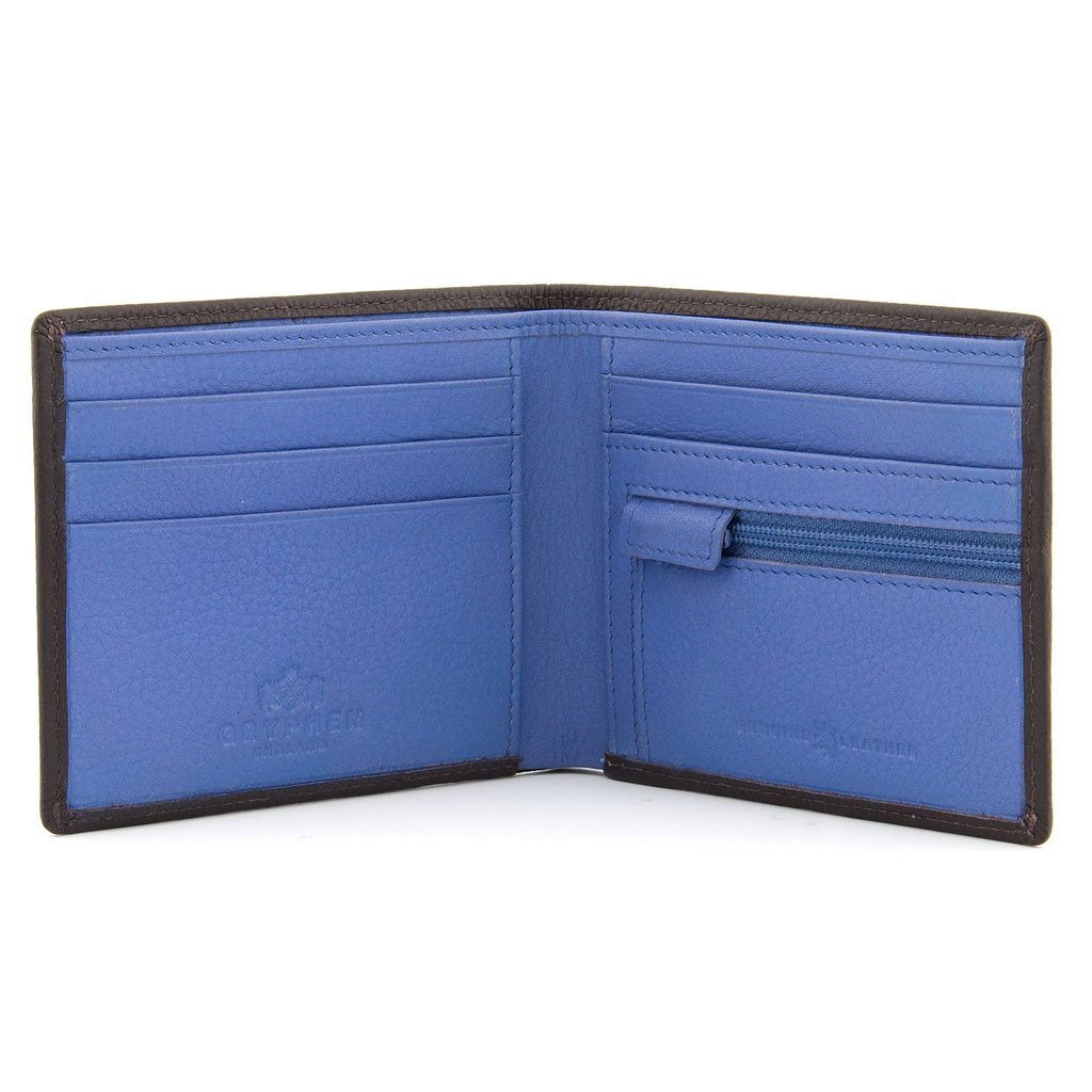 Brown And Blue Leather Two Fold Wallet With Zip Pocket - Yoshi
