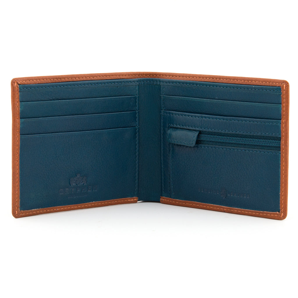Tan And Teal Leather Two Fold Wallet With Zip Pocket - Yoshi