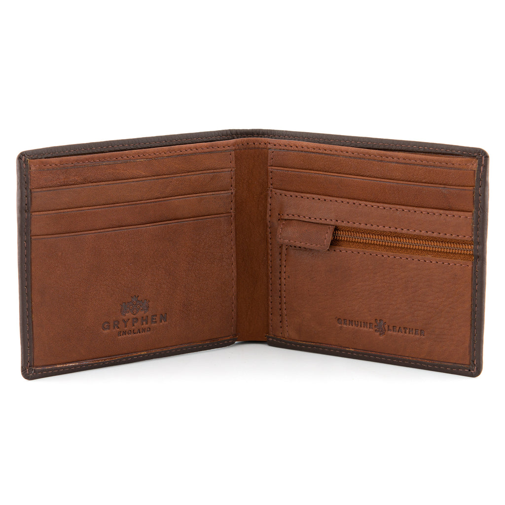 Brown Leather Contrast Inner Slim Wallet By Gryphen