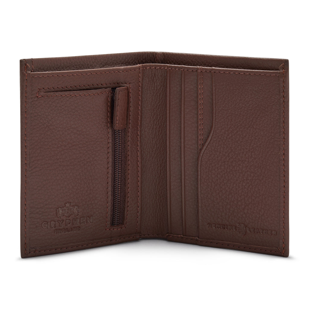 Brown Leather Wallet With Zip Pocket - Yoshi