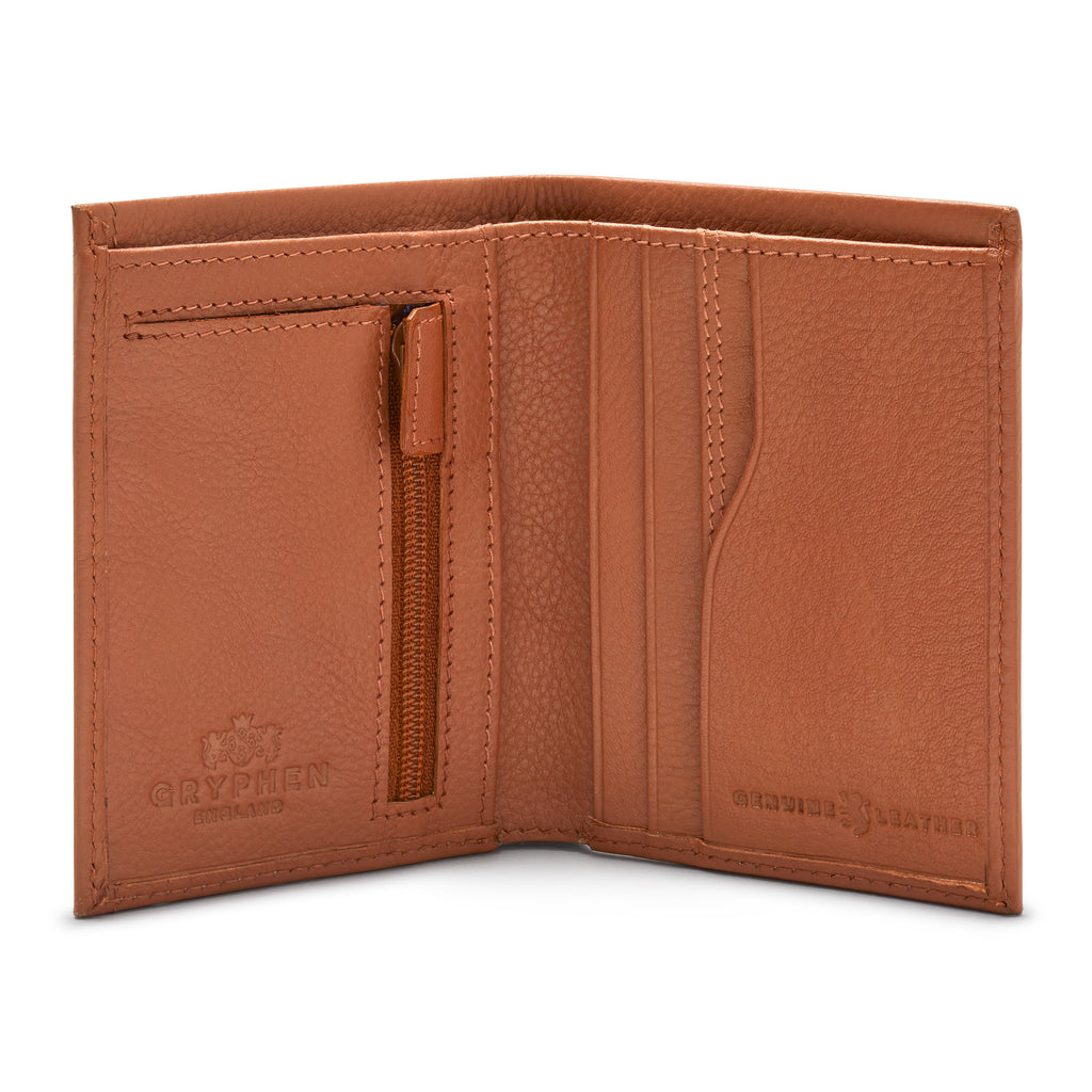 Tan Leather Wallet With Zip Pocket - Yoshi