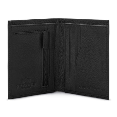Black Leather Wallet With Zip Pocket - Yoshi