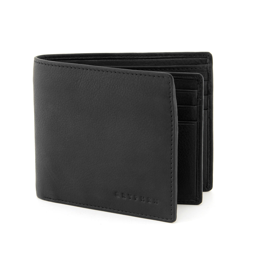 Two Fold Black Leather Wallet with Swing by Gryphen