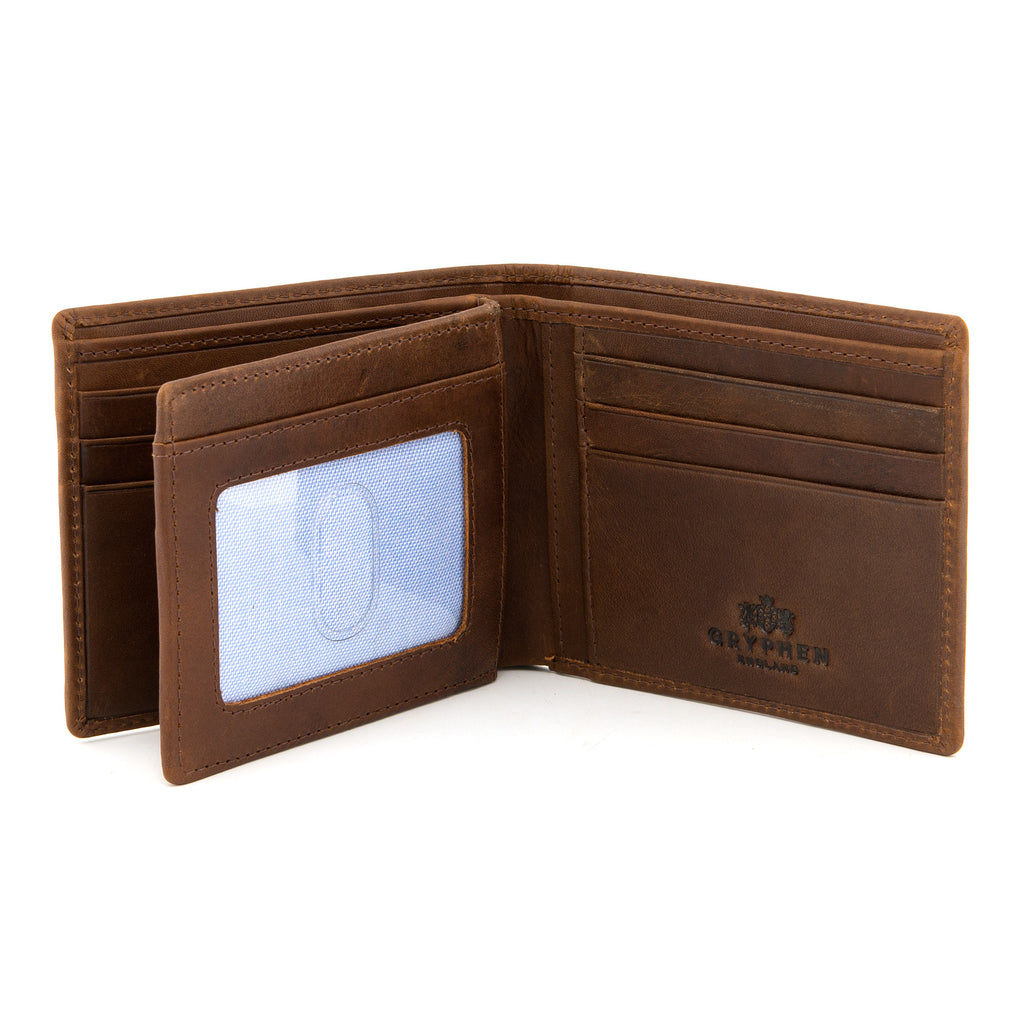 Brown Leather Extra Capacity Wallet By Gryphen - Yoshi