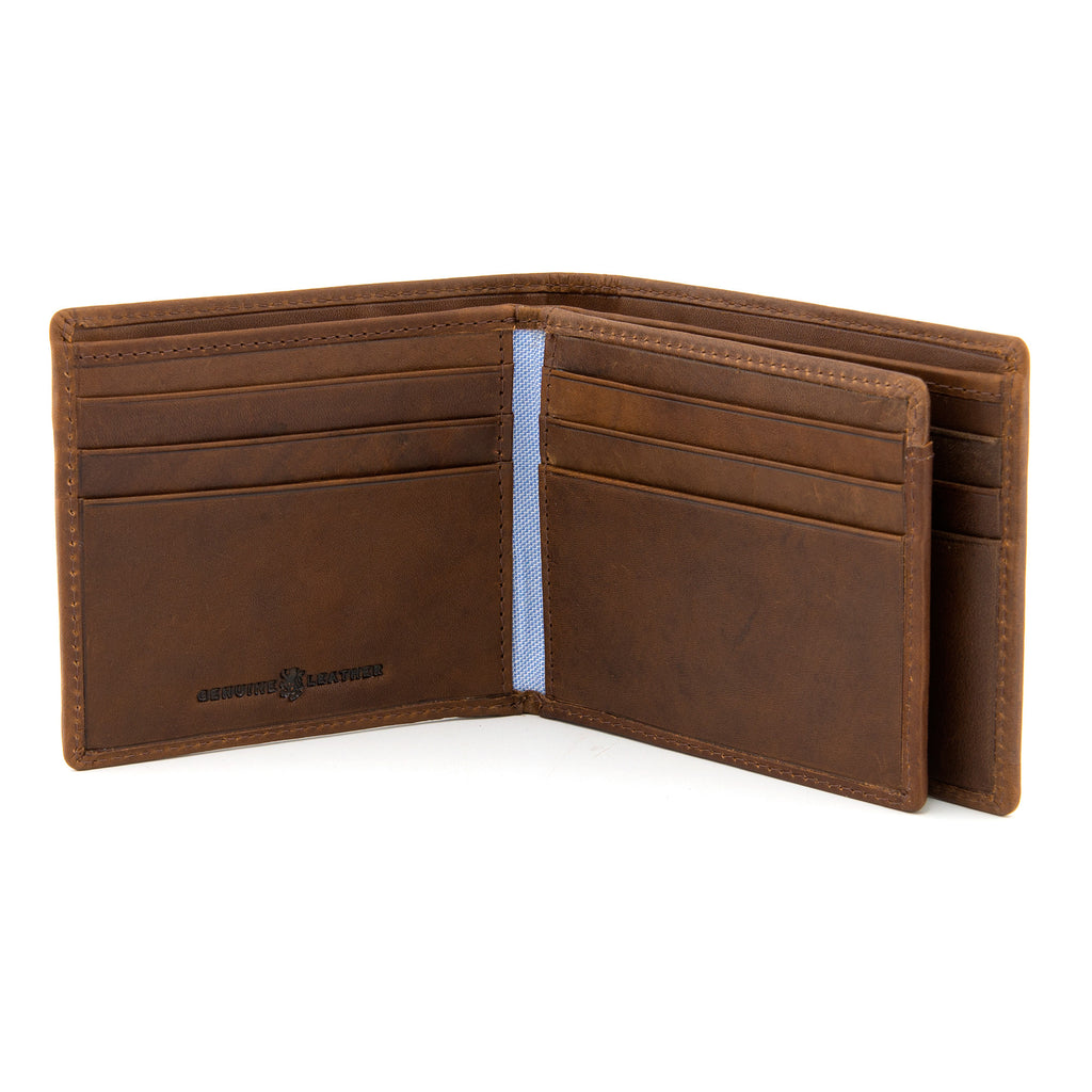 Two Fold Brown Leather Wallet with Swing by Gryphen