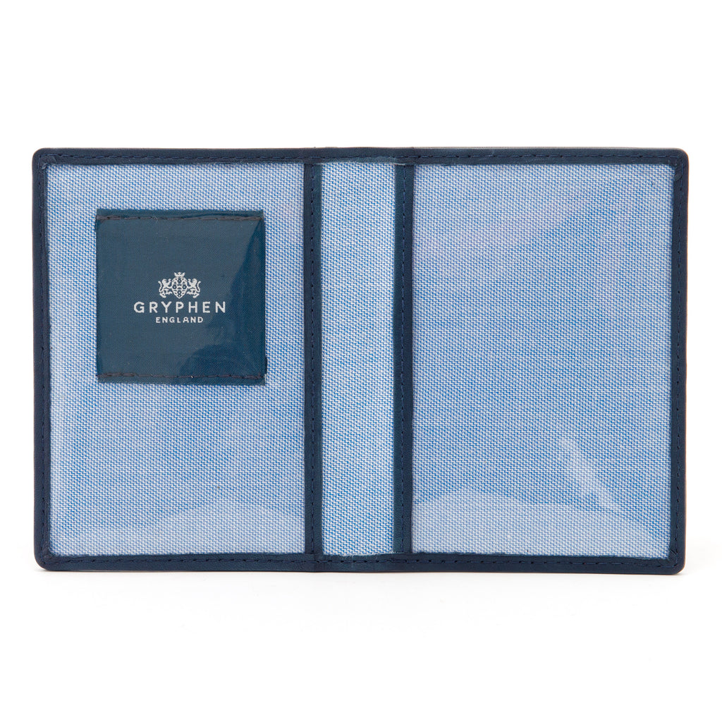 Navy Leather Oyster Card Holder by Gryphen -  - Gryphen
