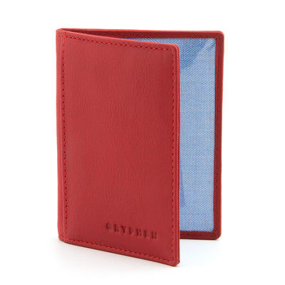 Red Leather Oyster Card Holder by Gryphen - Yoshi