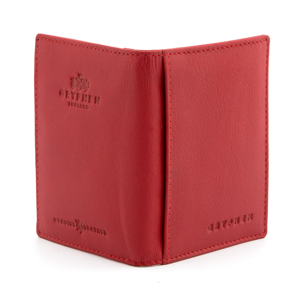 Red Leather Oyster Card Holder by Gryphen -  - Gryphen