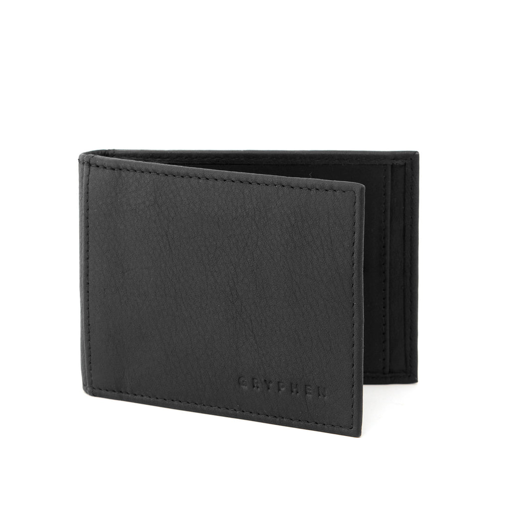 Two Fold Black Leather Money Clip Wallet by Gryphen
