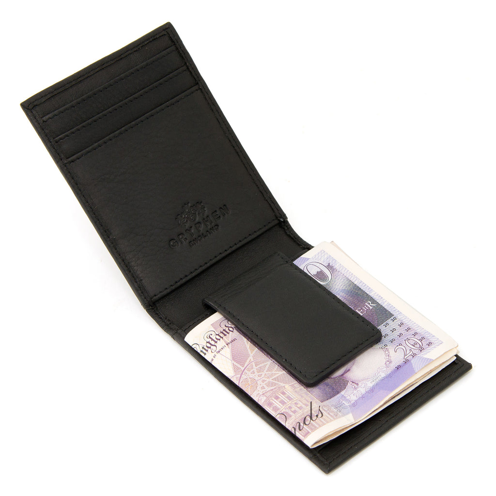 Black Leather Money Clip Wallet By Gryphen