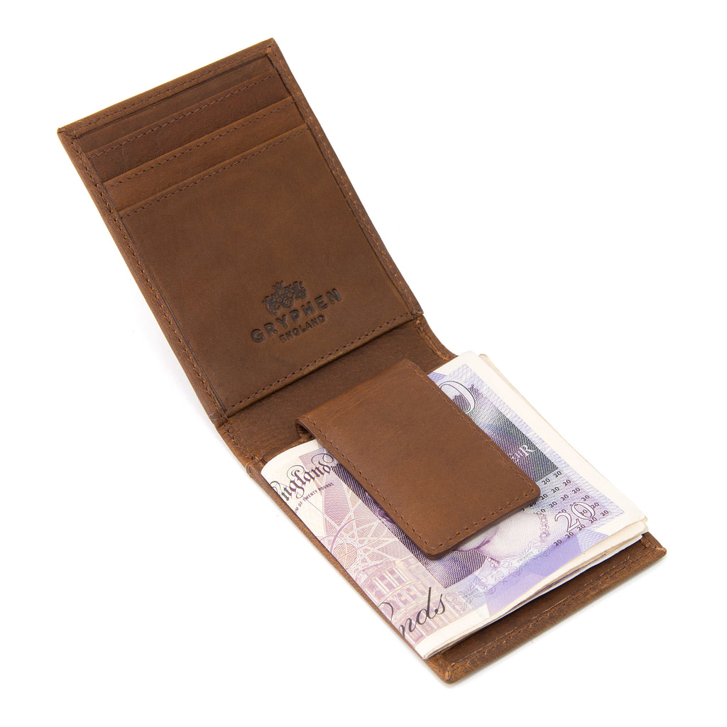 Two Fold Brown Leather Money Clip Wallet by Gryphen