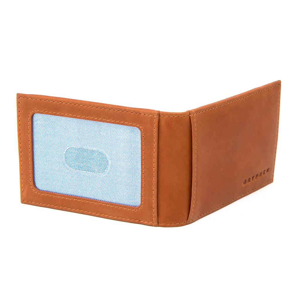 Two Fold Tan Leather Money Clip Wallet by Gryphen