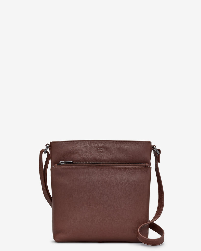 Garrick Brown Leather Cross Body Bag - Yoshi
