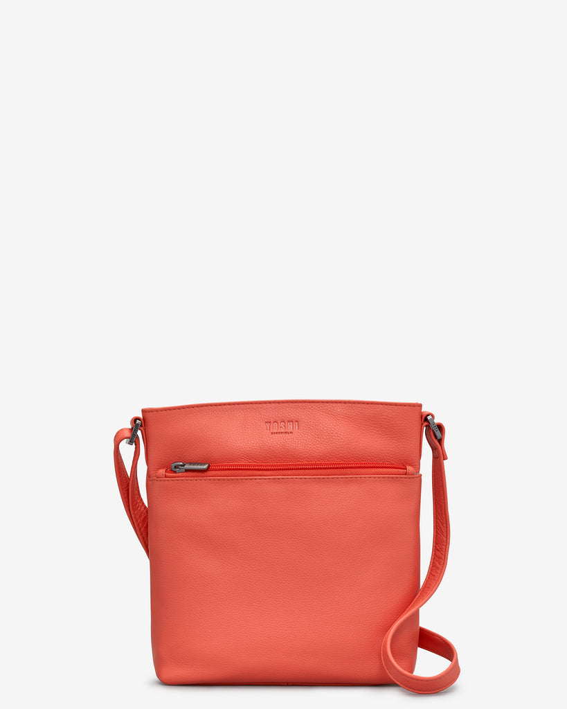 Garrick Coral Leather Cross Body Bag - Coral - Yoshi