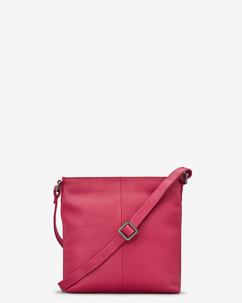 Garrick Raspberry Leather Cross Body Bag - Yoshi