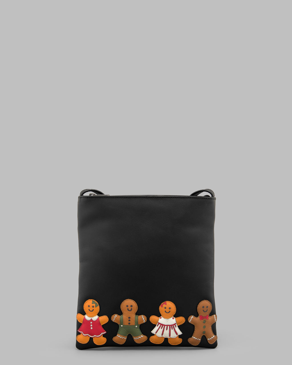 Gingerbread Gang Black Leather Cross Body Bag A
