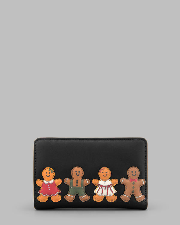 Gingerbread Gang Black Leather Flap Over Zip Round Purse A