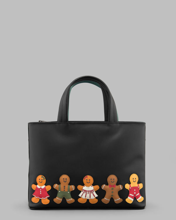 Gingerbread Gang Black Leather Grab Bag A