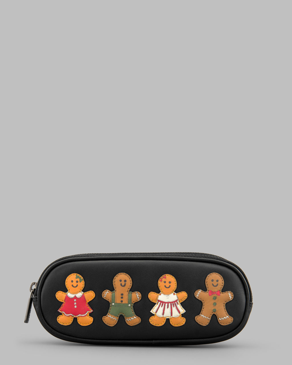 Gingerbread Gang Black Leather Zip Round Glasses Case A