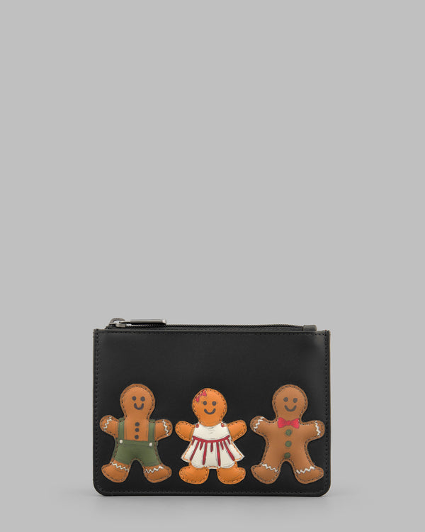 Gingerbread Gang Black Leather Zip Top Purse A