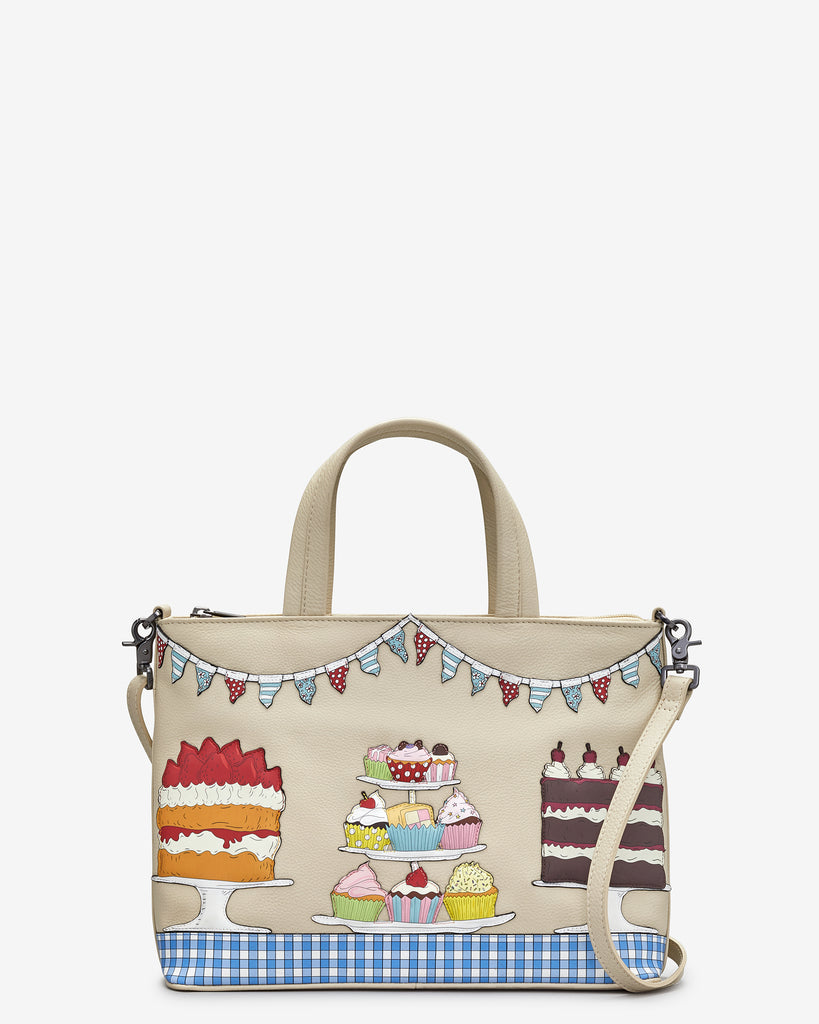 Goodness Bake Cream Leather Multiway Grab Bag - Cream - Yoshi