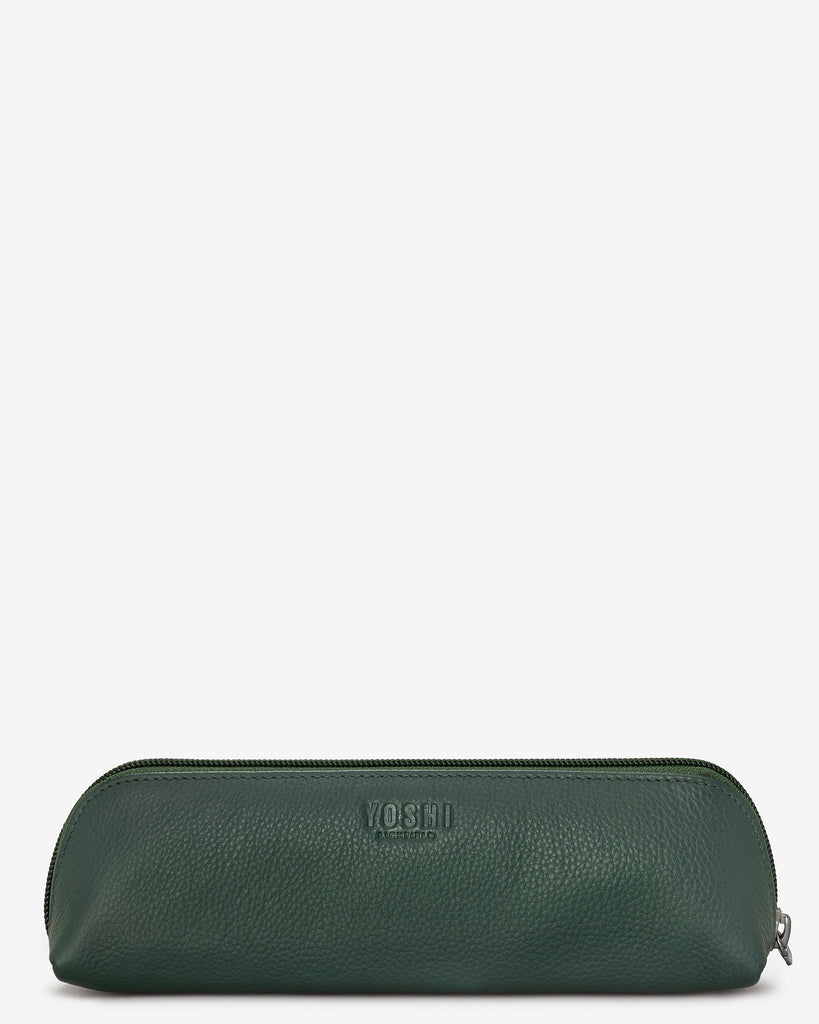 Green Fingers Bookworm Leather Pencil Case - Yoshi
