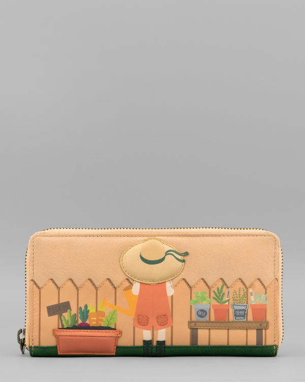 Green Fingers Cream Leather Zip Round Purse by Yoshi A