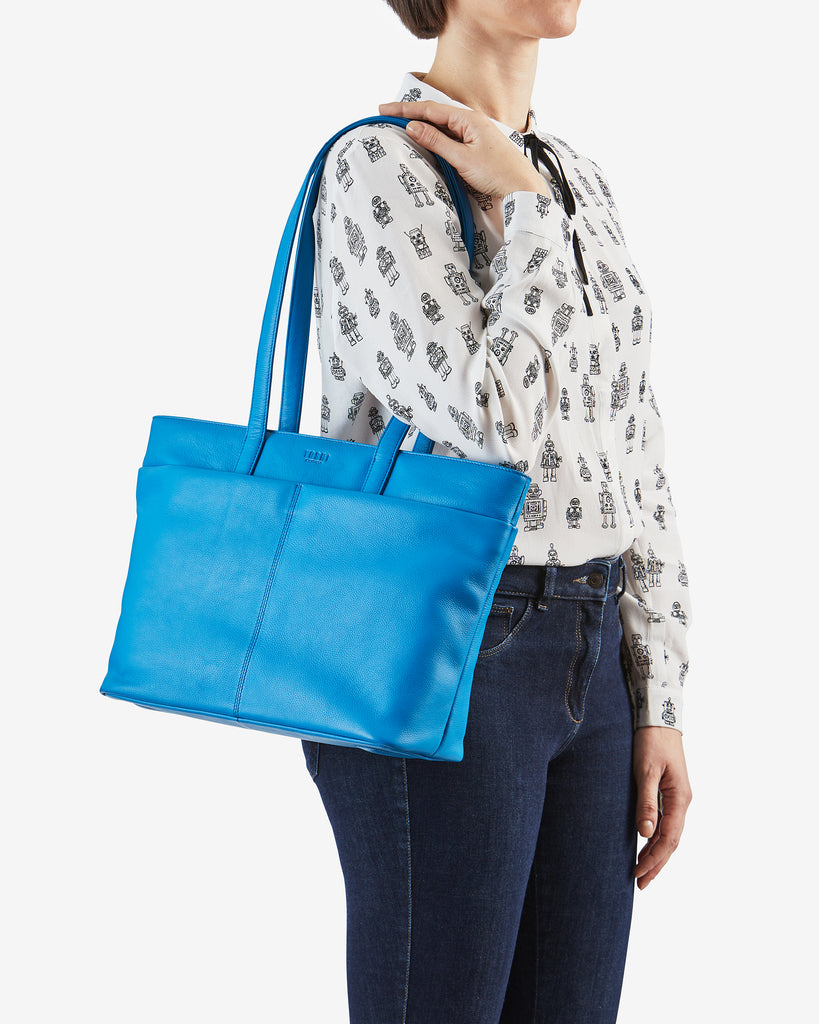 Gresley Cobalt Blue Leather Shopper Bag - Yoshi
