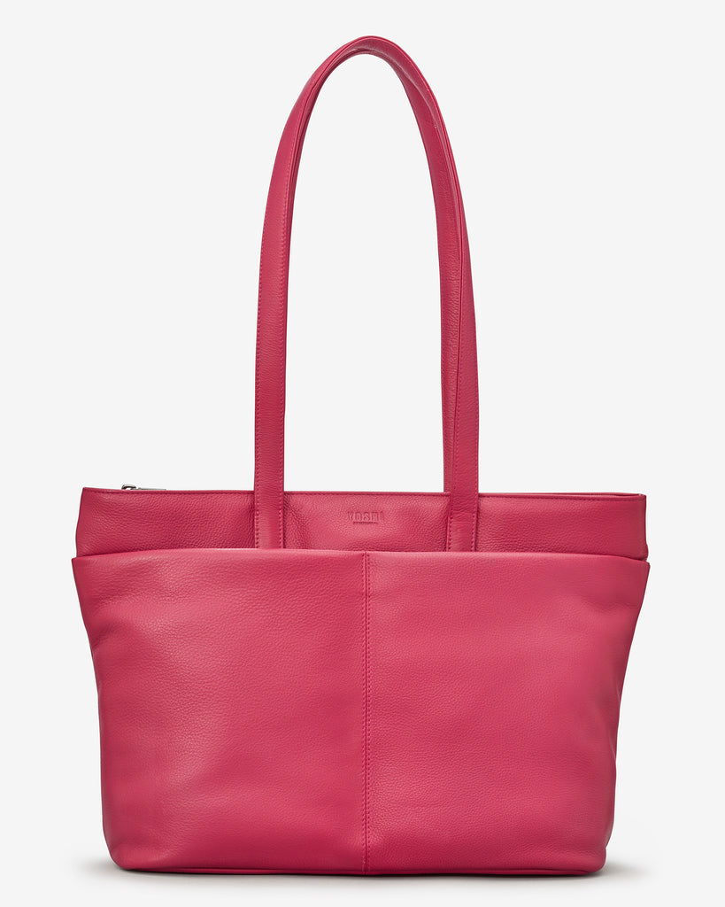 Gresley Raspberry Leather Shopper Bag - Yoshi